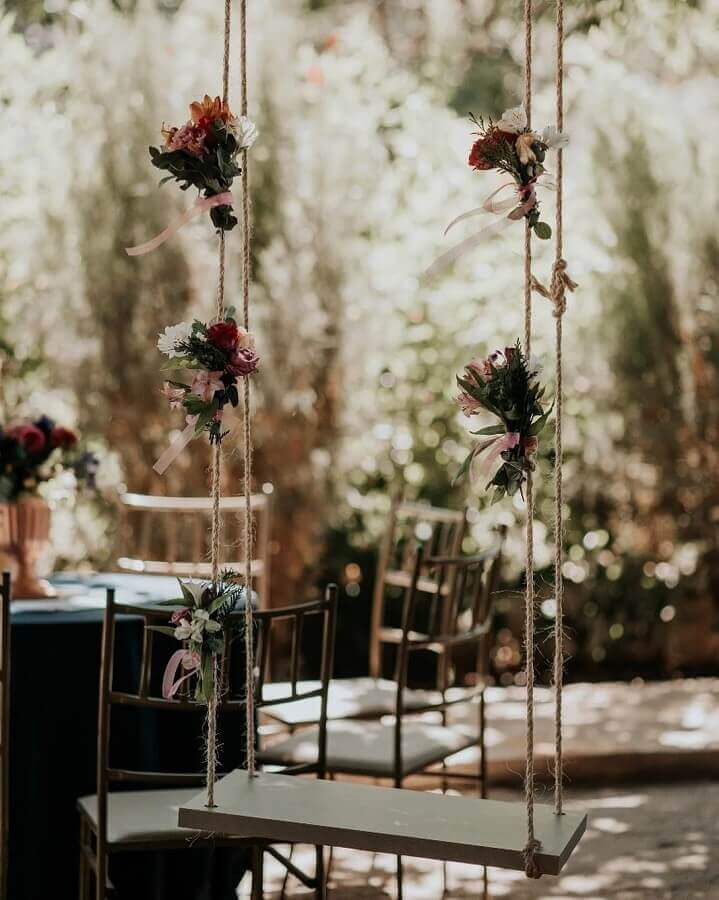 swing for rustic wedding decoration Photo Clívia Carvalho