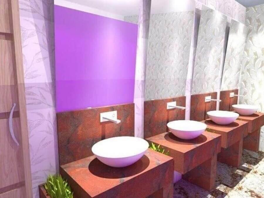 bancada de banheiro de granito rosa com cuba de porcelana Foto Pinterest