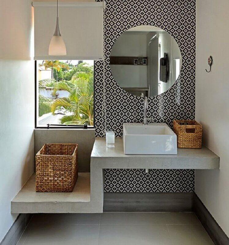 bancada de cimento queimado para banheiro com cuba quadrada Foto Pinterest