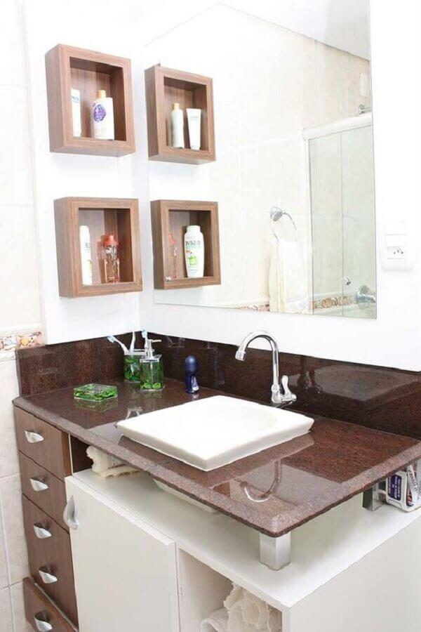 bancada de granito marrom para banheiro Foto Assetproject