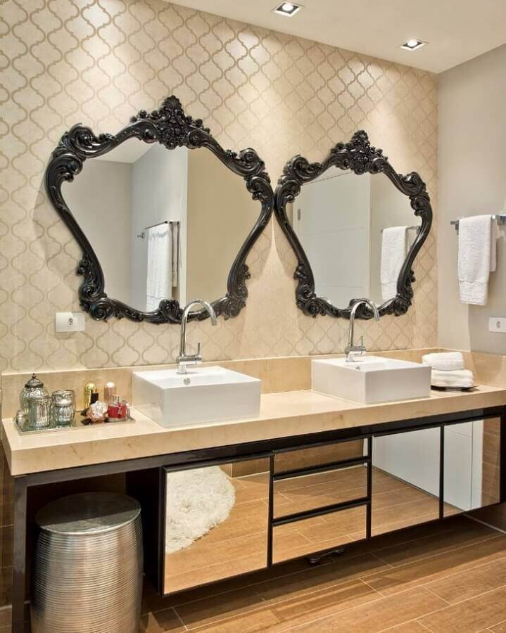 bancada de mármore para banheiro com armário espelhado Foto Ana Claudia Marini Arquitetura