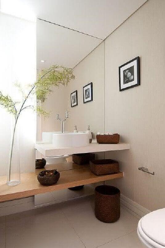 bancada de mármore para banheiro com cuba redonda de porcelanato Foto Toda Atual