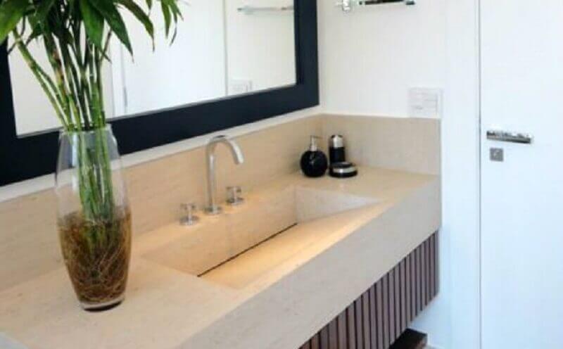 bancada de mármore para banheiro com pia esculpida Foto Santa Cruz Acabamentos