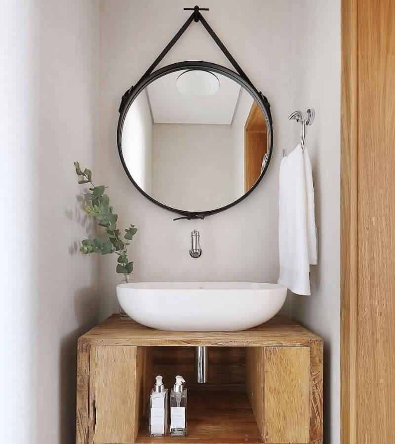 bancada de madeira para banheiro com cuba branca oval Foto Eduardo Cavalcanti Castro