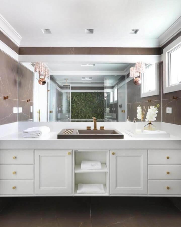 bancada de porcelanato para banheiro com estilo sofisticado Foto Studio Carina Fontes