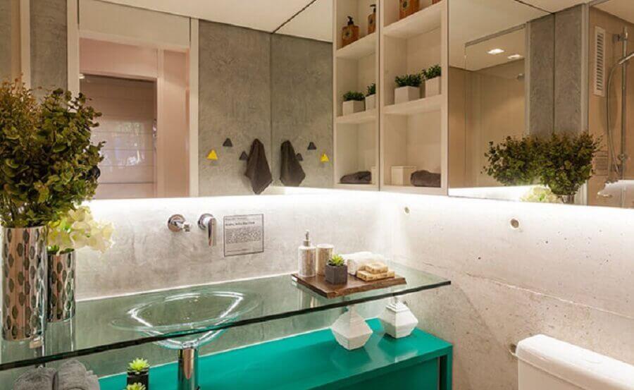 bancada de vidro para banheiro Foto Fernanda Marques
