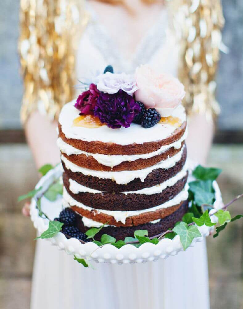bolo rústico para casamento simples