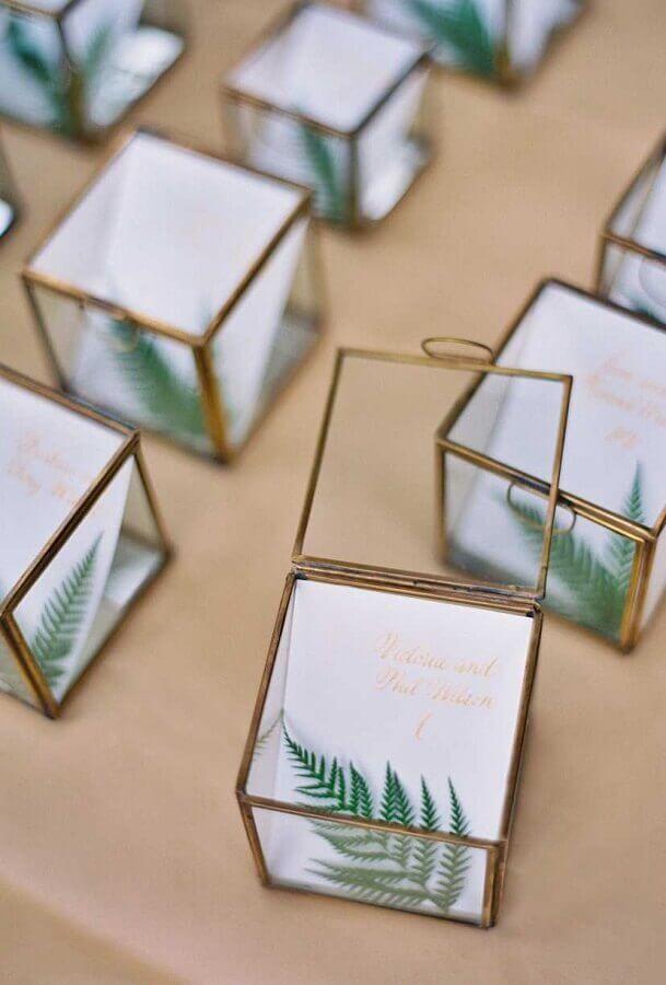 caixinha de vidro para lembrancinhas de casamento