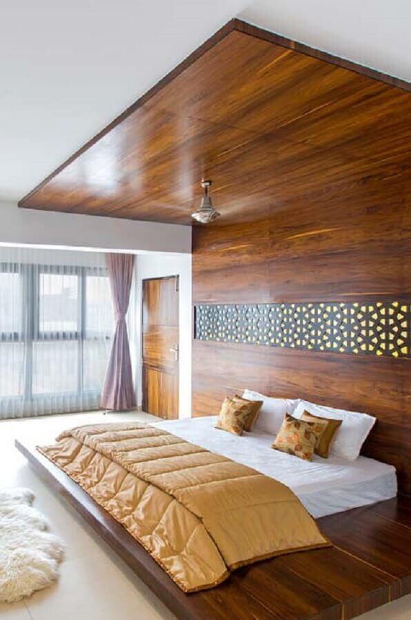 cama de casal japonesa com estrutura de madeira
