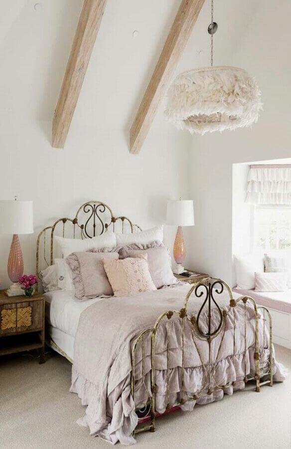 cama estrutura de ferro para quarto provençal