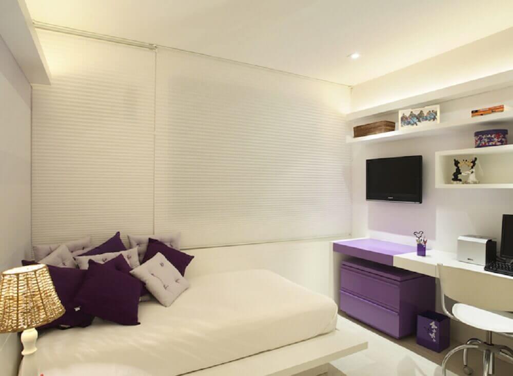 cama japonesa de solteiro para quarto todo branco