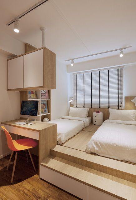 Cama japonesa no quarto compartilhado