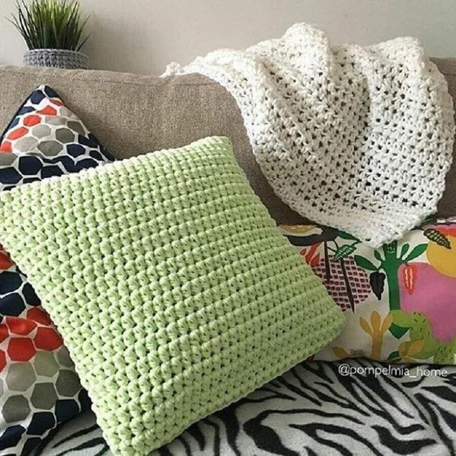 capa simples para almofada em crochê