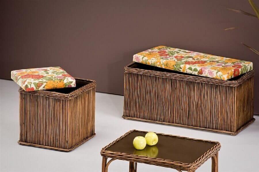 conjunto de puff baú rústico com tampo estampado