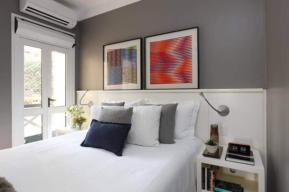 core para quarto de casal parede cinza