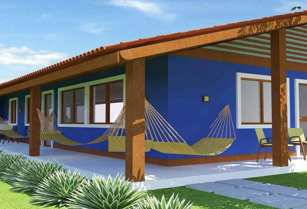 cores de tintas para pintar casa azul com varanda