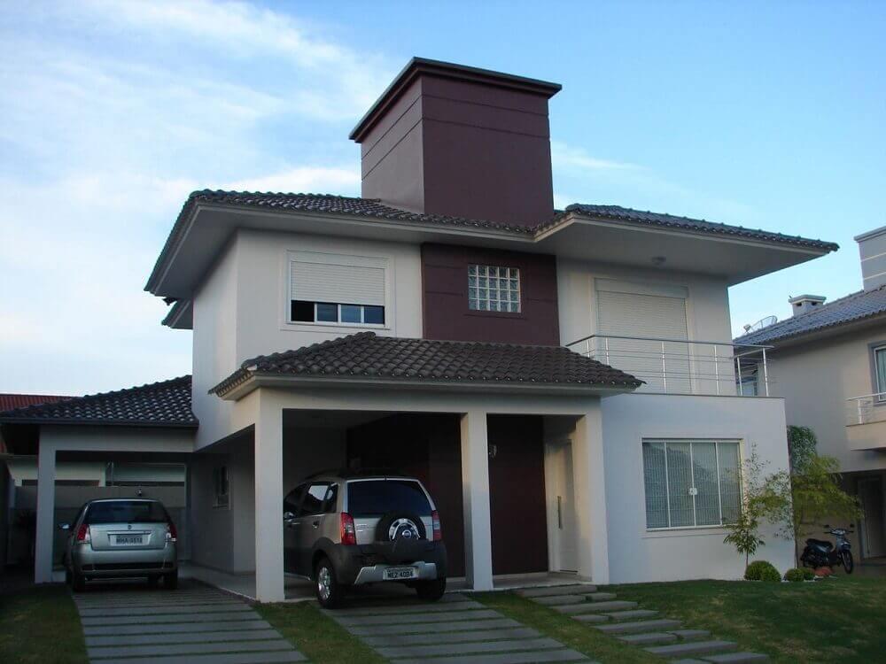 cores de tintas para pintar casa com fachada marrom e creme
