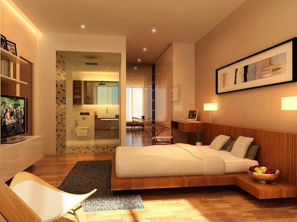 cores neutras para quarto com cama japonesa