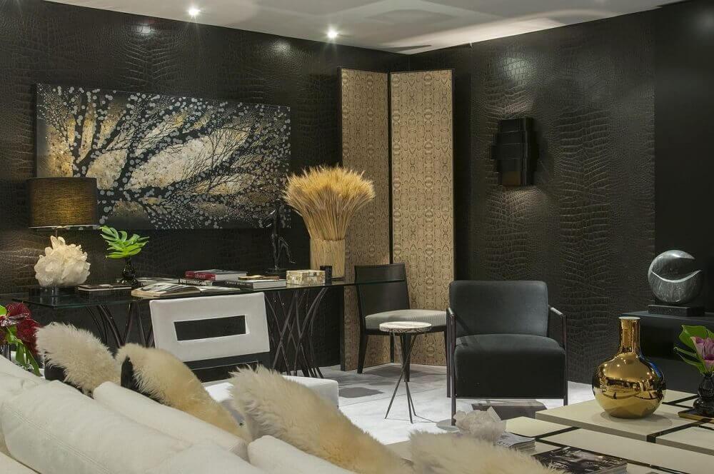cores para casa com sala preta e branca