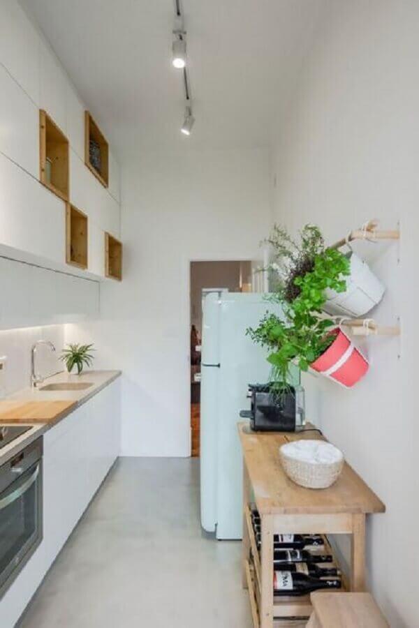 cozinha pequena com horta para apartamento
