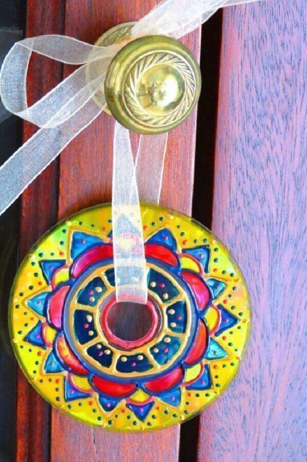 decoração com CD para porta