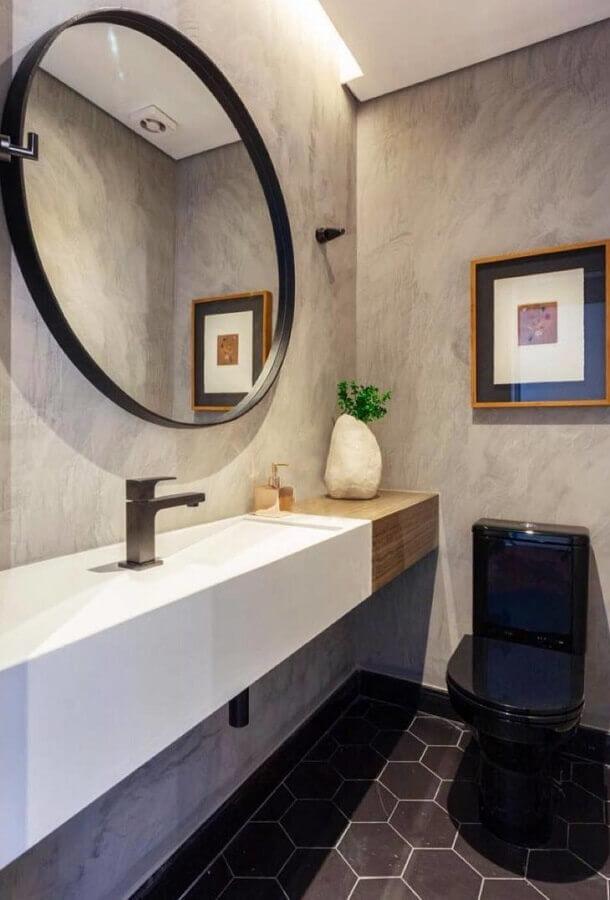 decoração com bancada de banheiro moderno Foto Viviane Gobbato Arquitetura