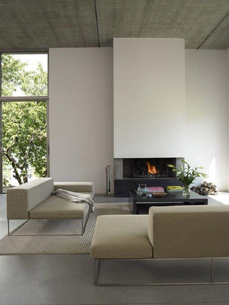 decoração com sofá moderno para sala minimalista
