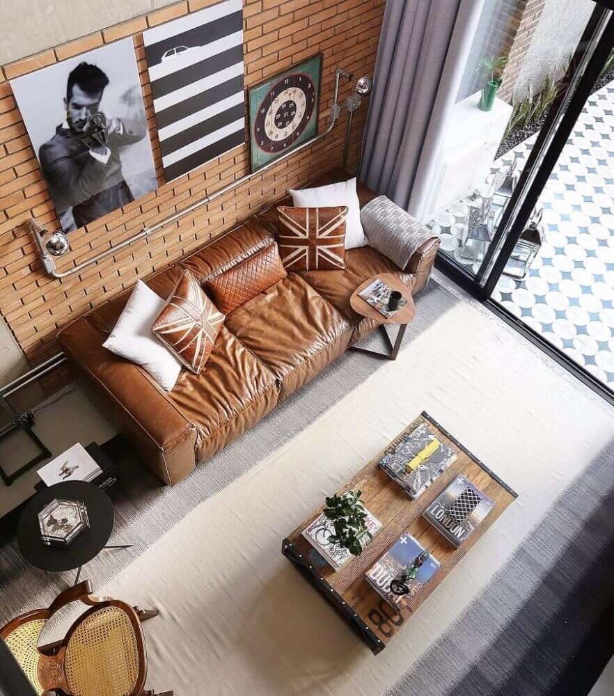 decoração com sofá para sala de TV