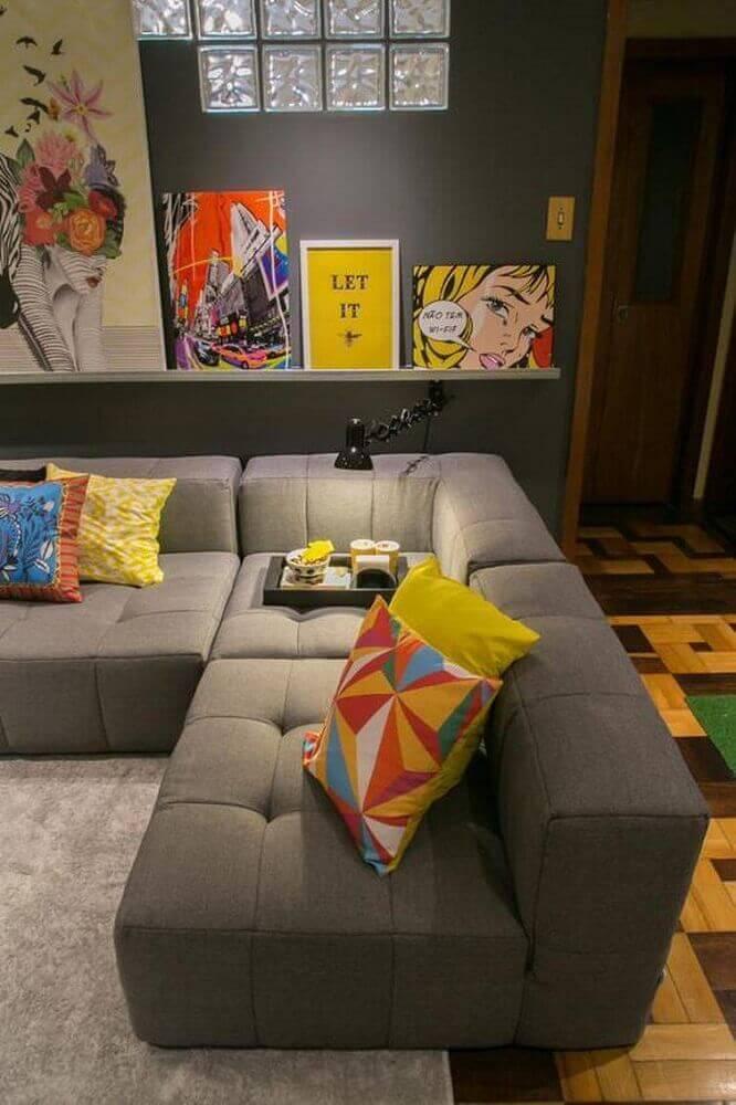 decoração contemporânea com modelo de sofá de canto para sala