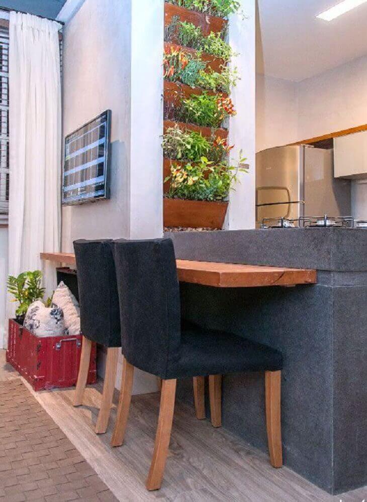 decoração de cozinha com horta vertical apartamento