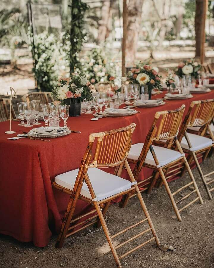 rustic outdoor wedding party decoration Foto Paloma Cruz Events