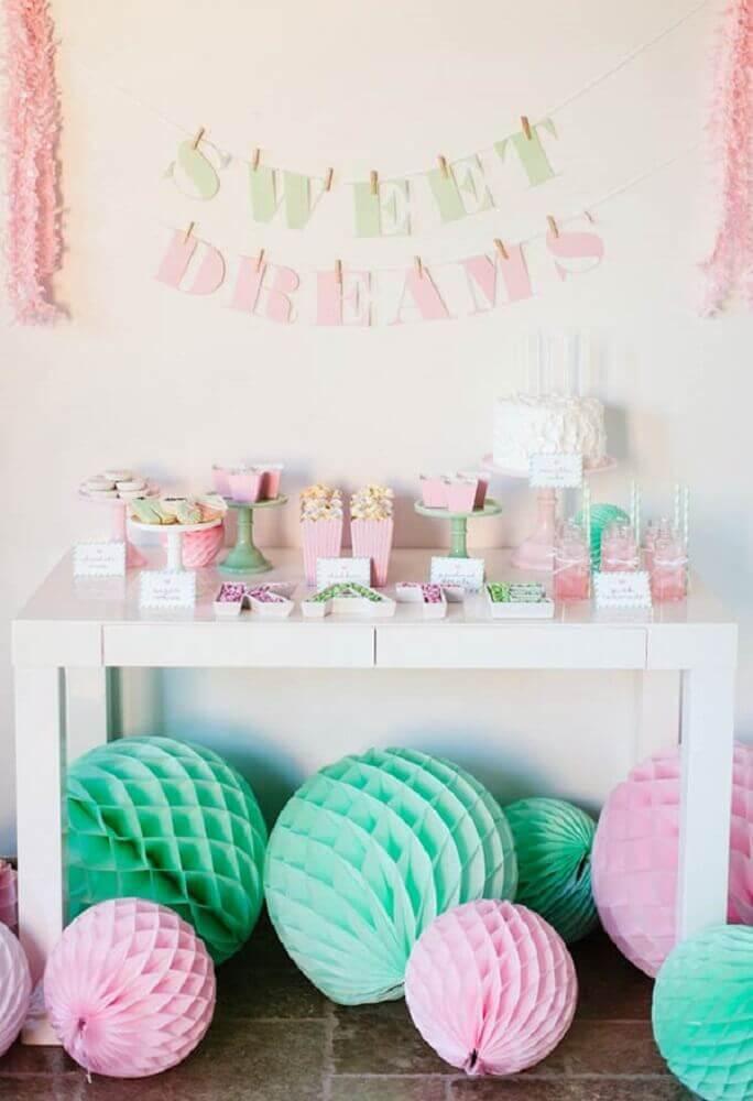 decoração de mesa para festa do pijama