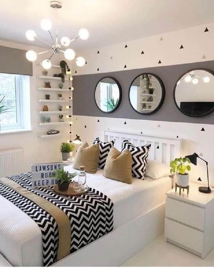 decoração de quarto feminino moderno branco e cinza Foto Oppa Design