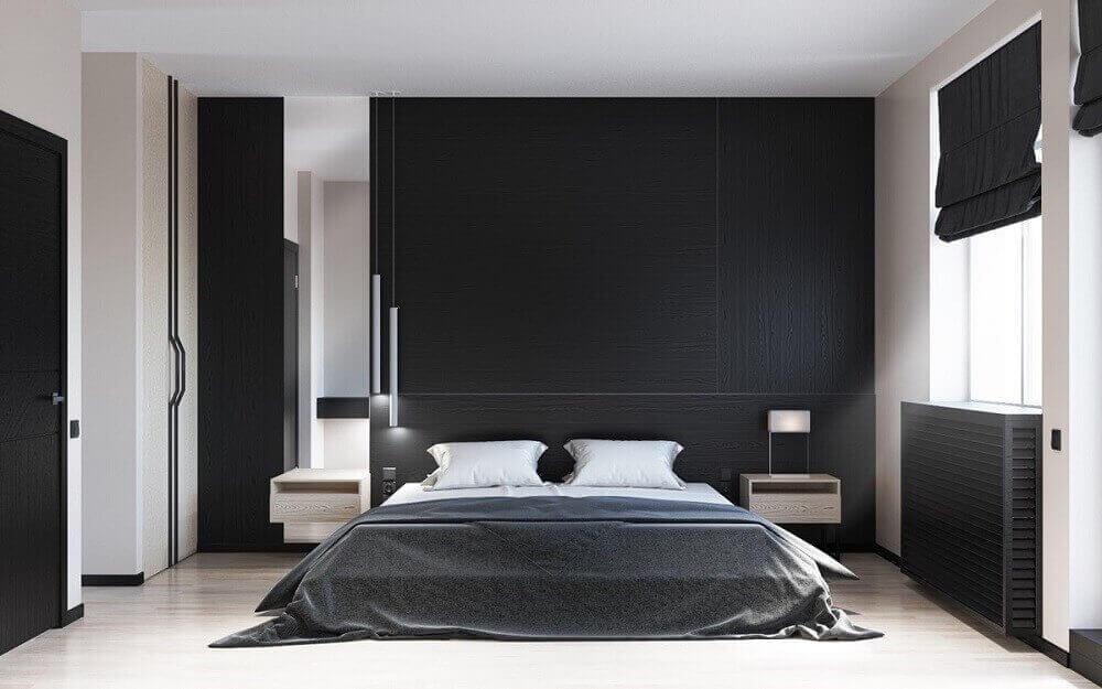 decoração de quarto minimalista com paredes pretas