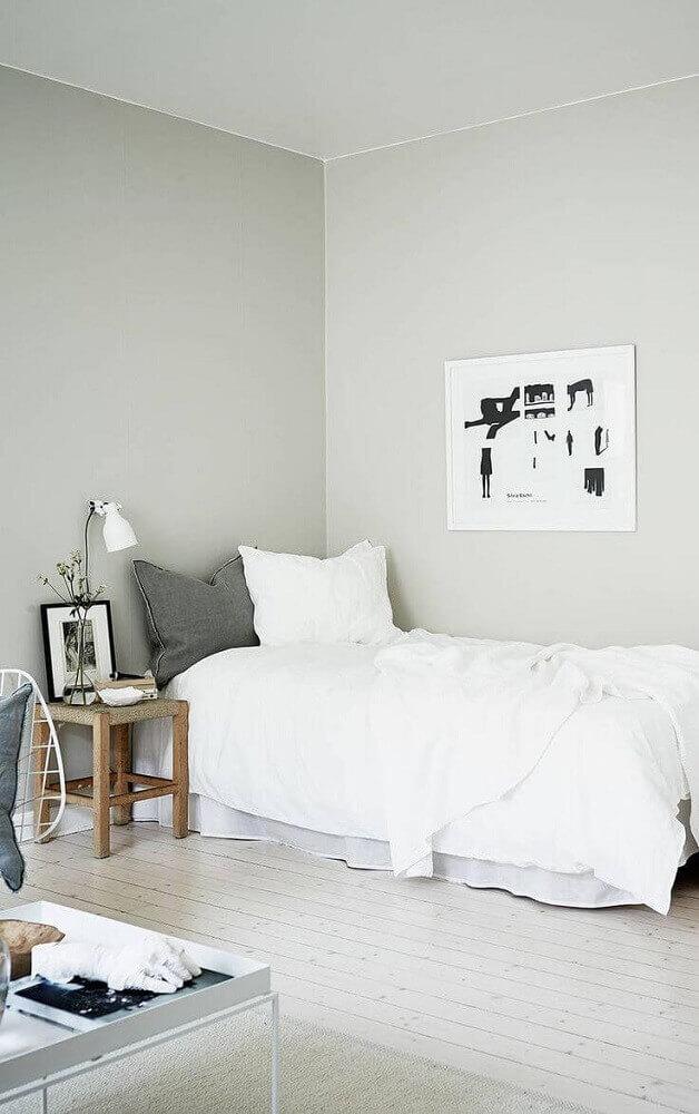 decoração de quarto minimalista de solteiro