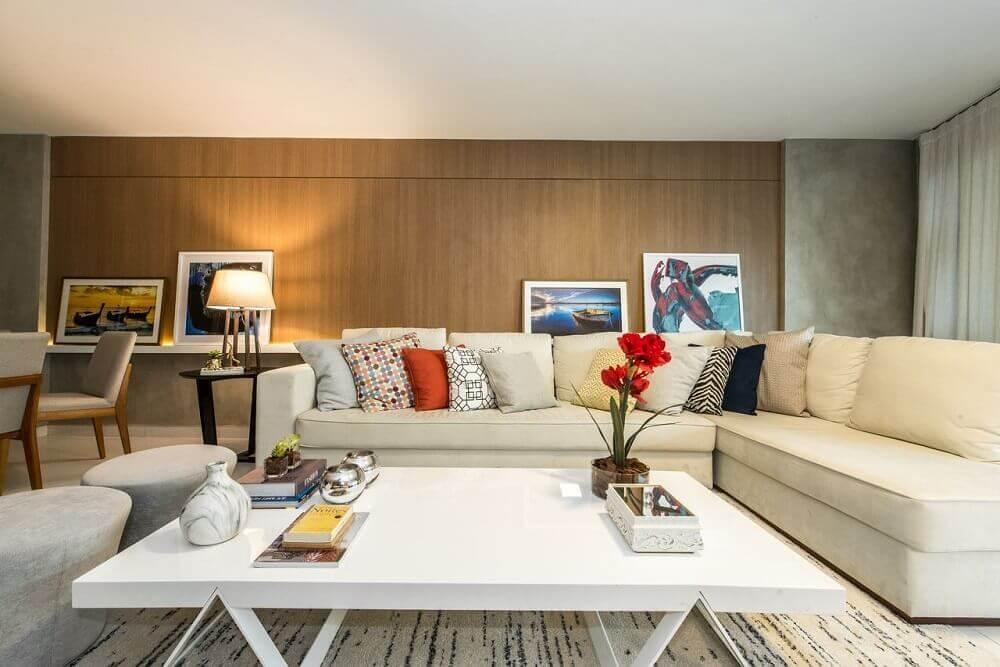 decoração de sala com modelo de sofá de canto