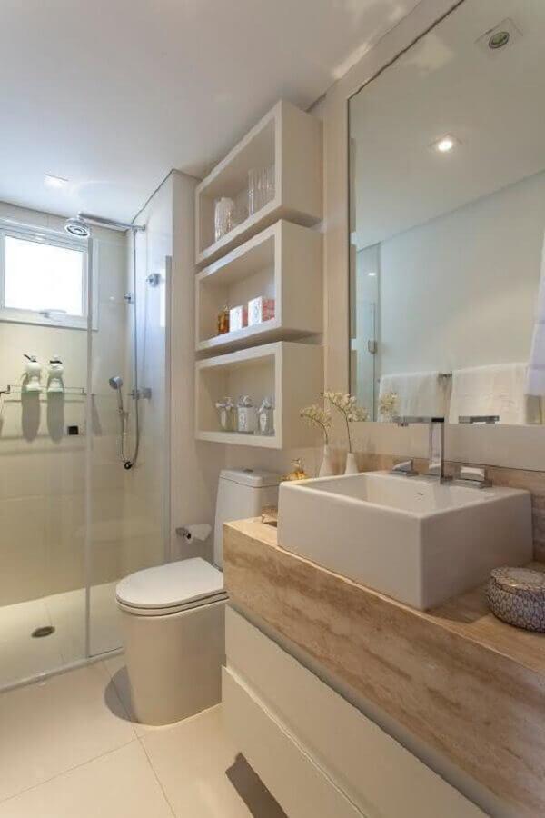 decoração em tons neutros com bancada de mármore para banheiro Foto Style Motivation