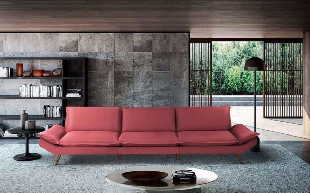 decoração estilo contemporânea para sala com sofá vermelho
