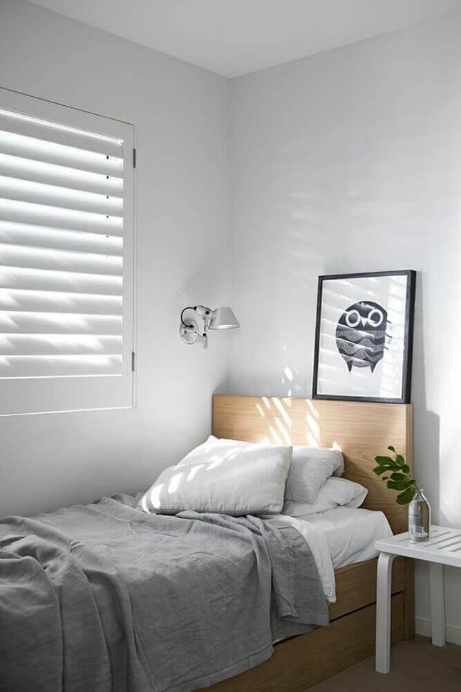 decoração estilo minimalista para quarto de solteiro