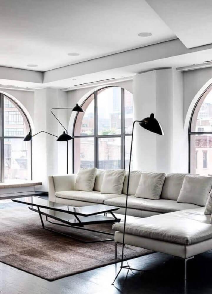 decoração minimalista e moderna com sofá para sala
