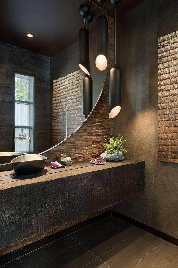 decoração moderna com bancada de madeira para banheiro com acabamento rústica Foto HomyFeed