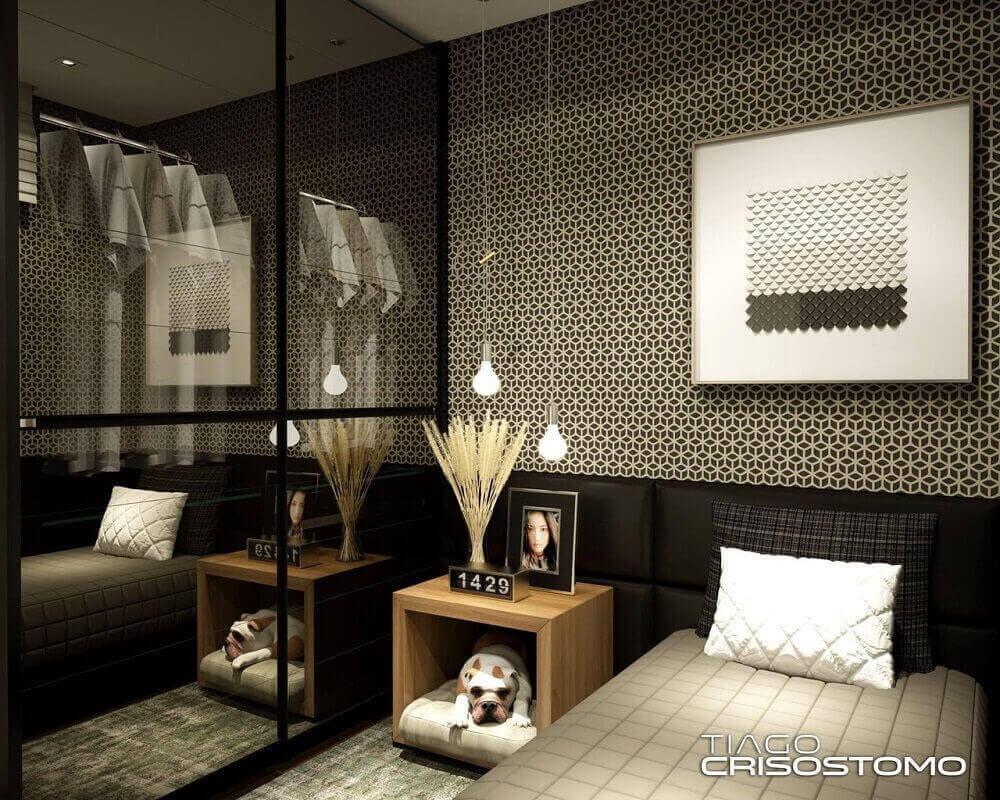 decoração moderna para quarto minimalista de solteiro