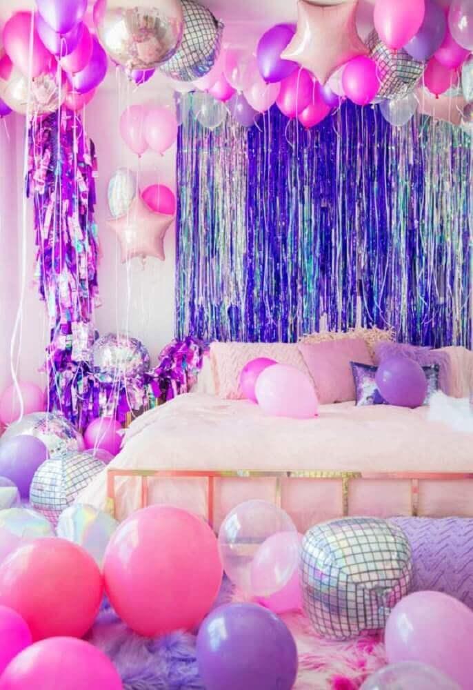 decoração para festa do pijama com balões