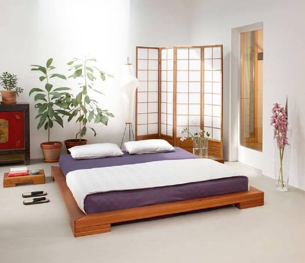 decoração para quarto com cama de casal japonesa