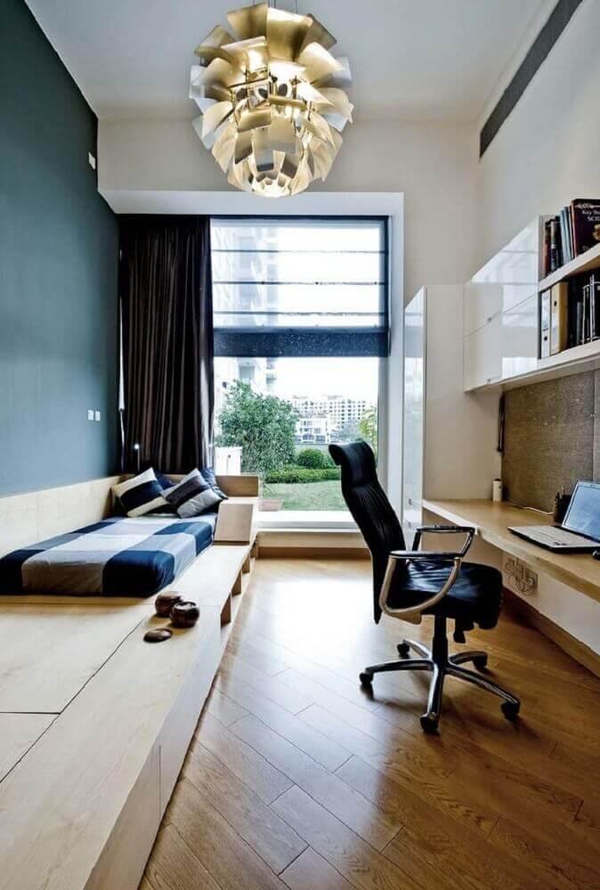 decoração para quarto com cama japonesa de solteiro