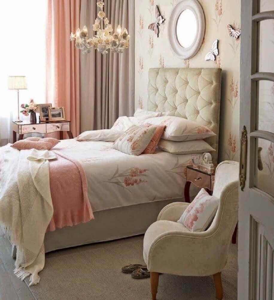 decoração para quarto feminino jovem com estilo romântico