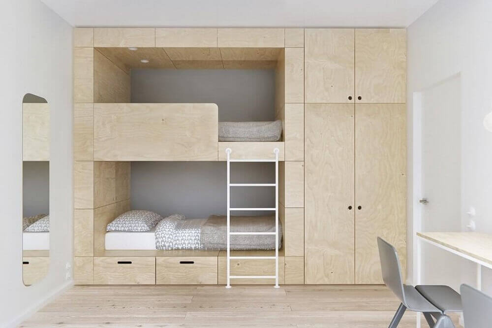 decoração para quarto minimalista de solteiro com beliche
