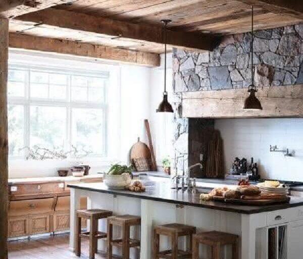 decoração rústica para cozinha com ilha branca