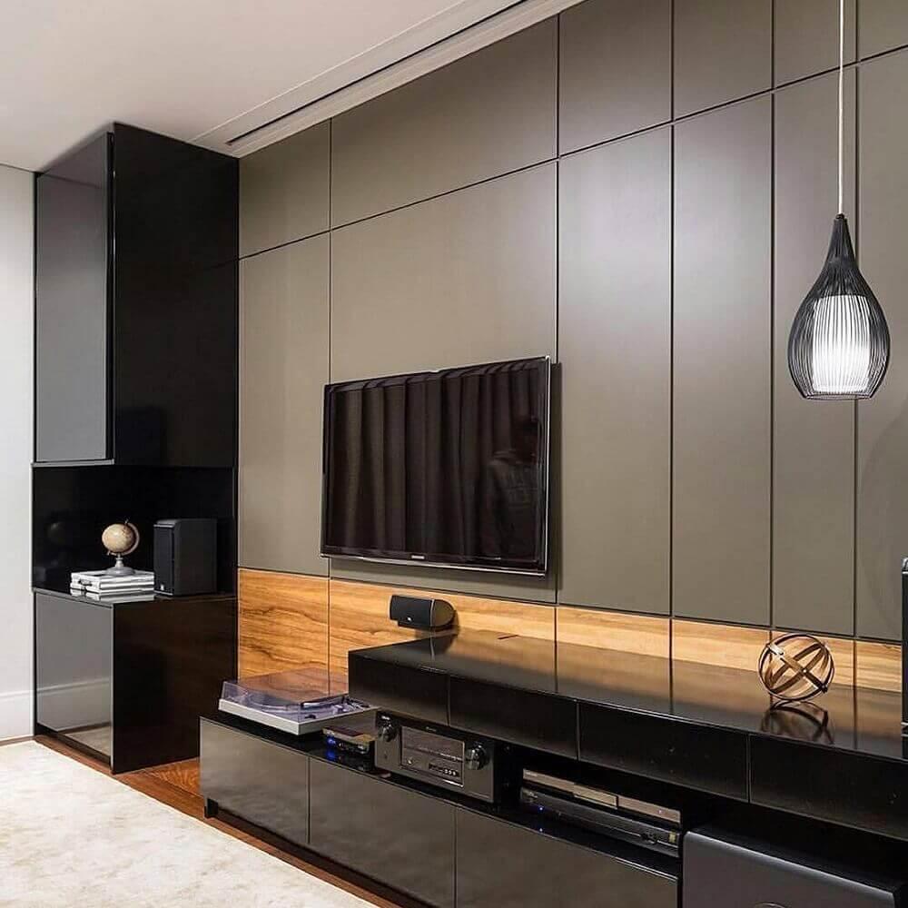 decoração sofisticada com painel para sala de estar