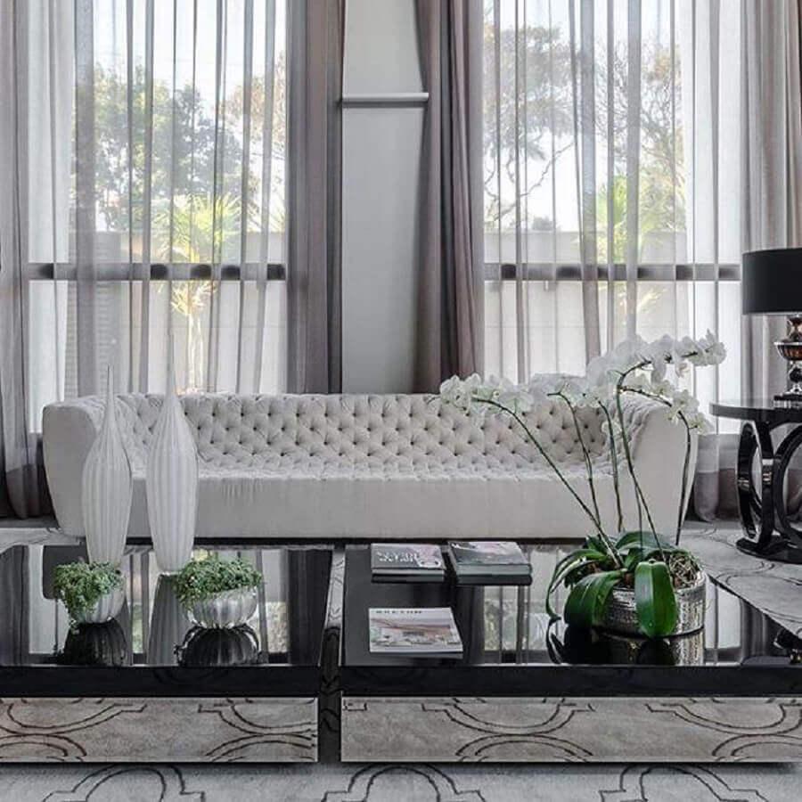 decoração sofisticada com sofá para sala clean